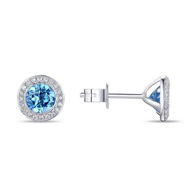 Blue Topaz & Diamond Stud Earrings