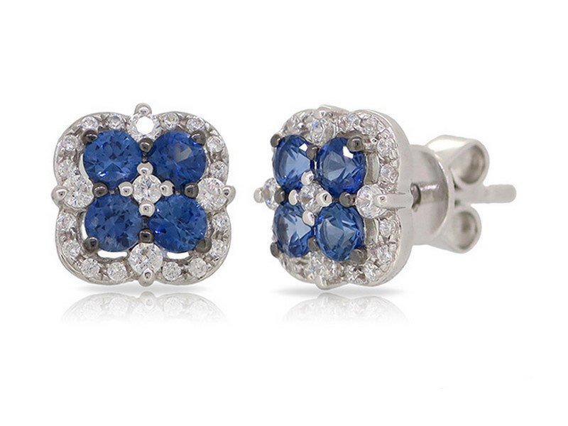 Diamond & Sapphire Stud Earrings