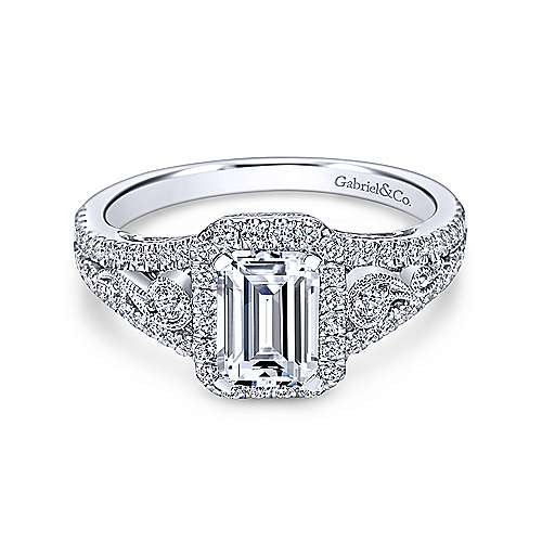 Emerald Cut Halo Diamond Engagement Ring