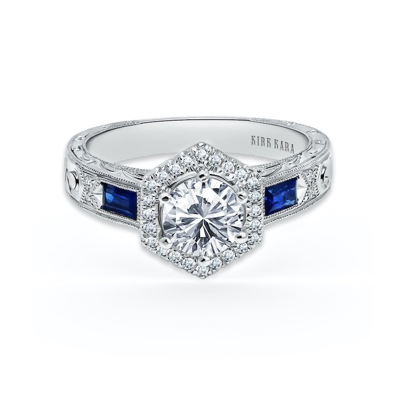 Diamond & Sapphire Halo Engagement Ring