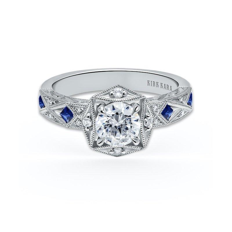 Diamond & Sapphire Halo Engagement Ring