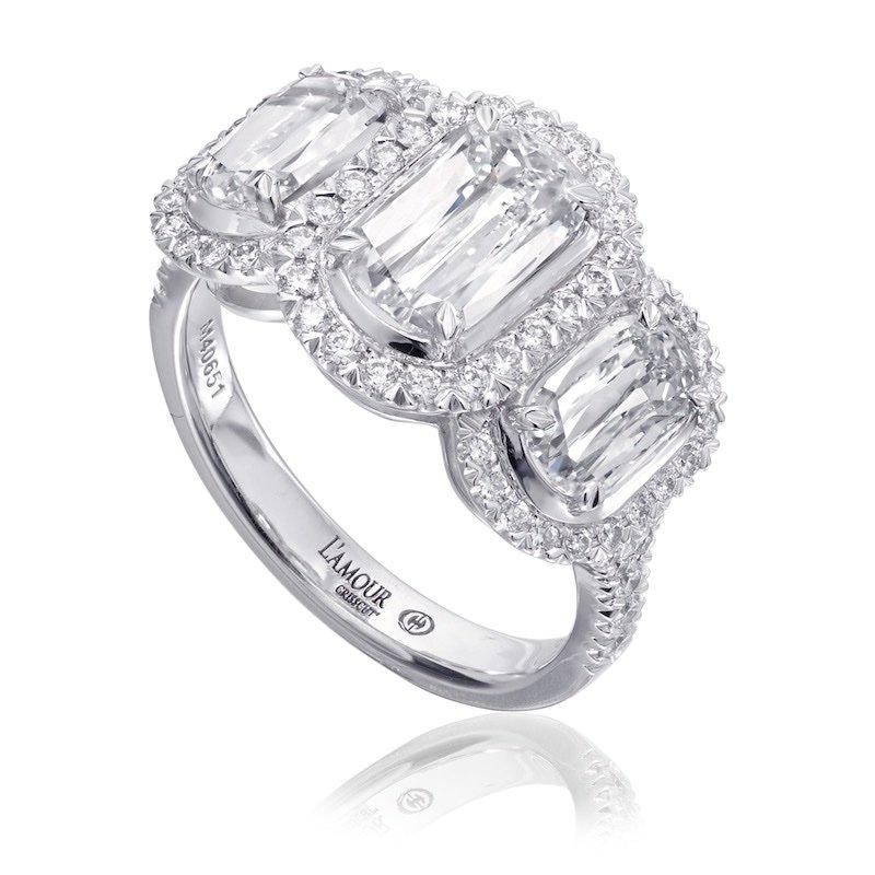 Diamond Halo Three Stone Ring
