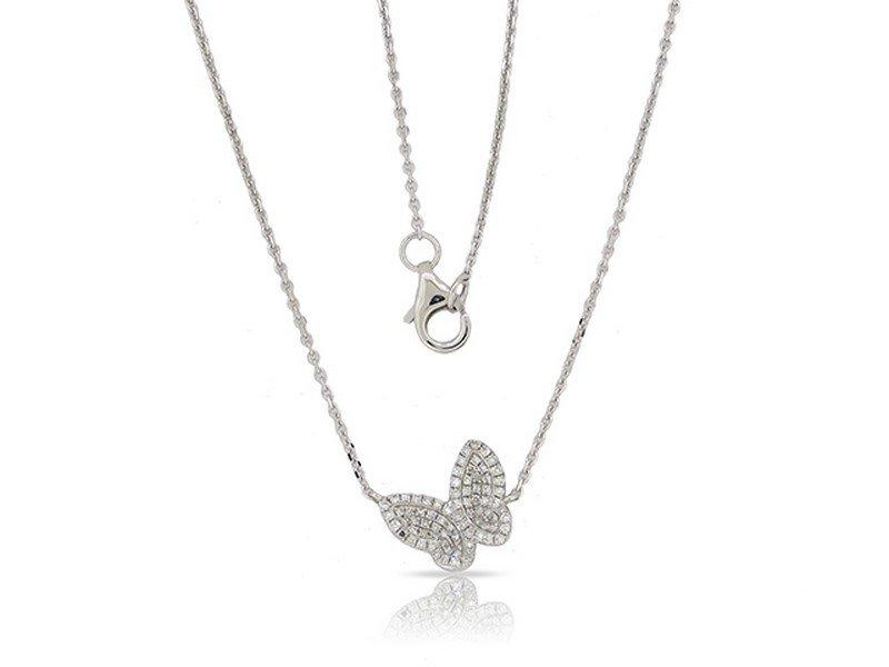 Luvente 14k White Gold Diamond Butterfly Necklace