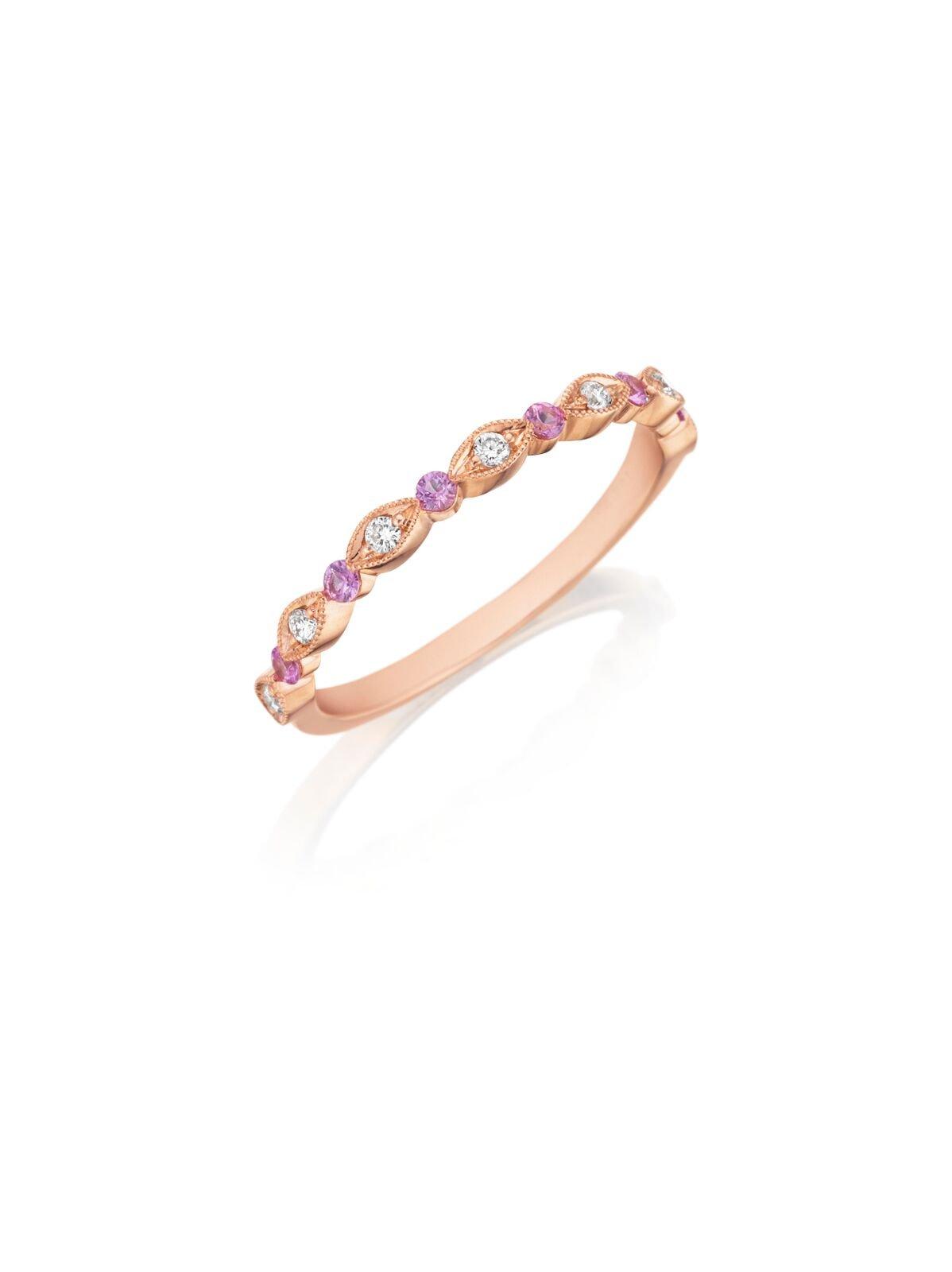 Diamond & Pink Sapphire Band