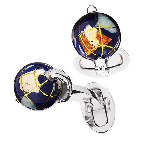 Spinning Lapis Globe Cufflinks