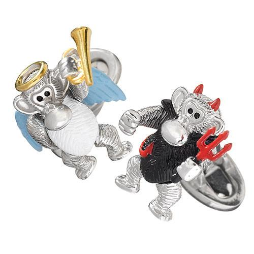 Moving Monkey Angel and Devil Cufflinks