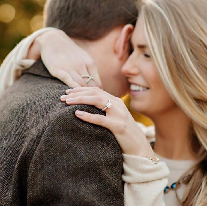 Women Smiling While Embracing Man After Engagement