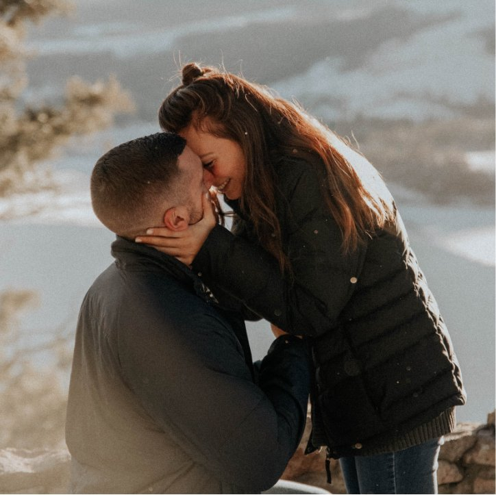 Couple in Close Kiss After Engagement