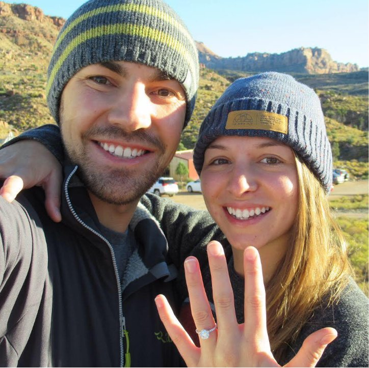 Couple Showing Off New Engagement Ring