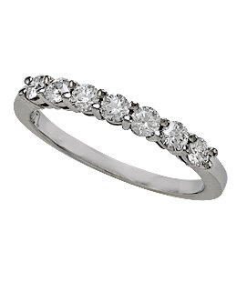 Platinum Shared Prong 7 Stone Band