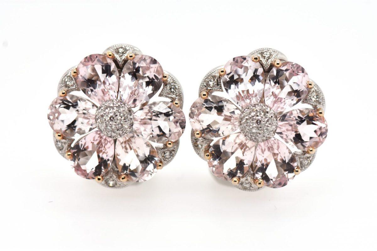 Kunzite & Diamond Earrings