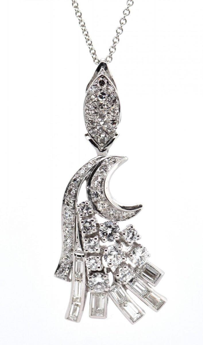 Diamond Moon Drop Necklace