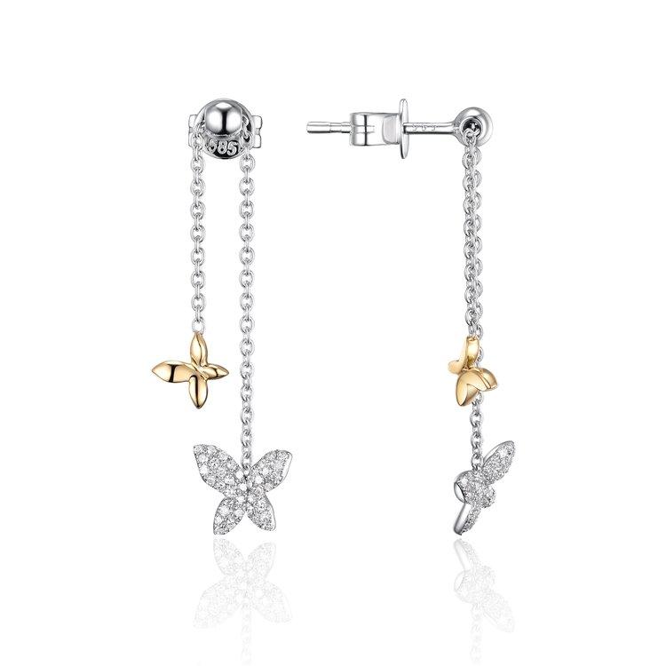 Diamond Butterfly & Star Earrings