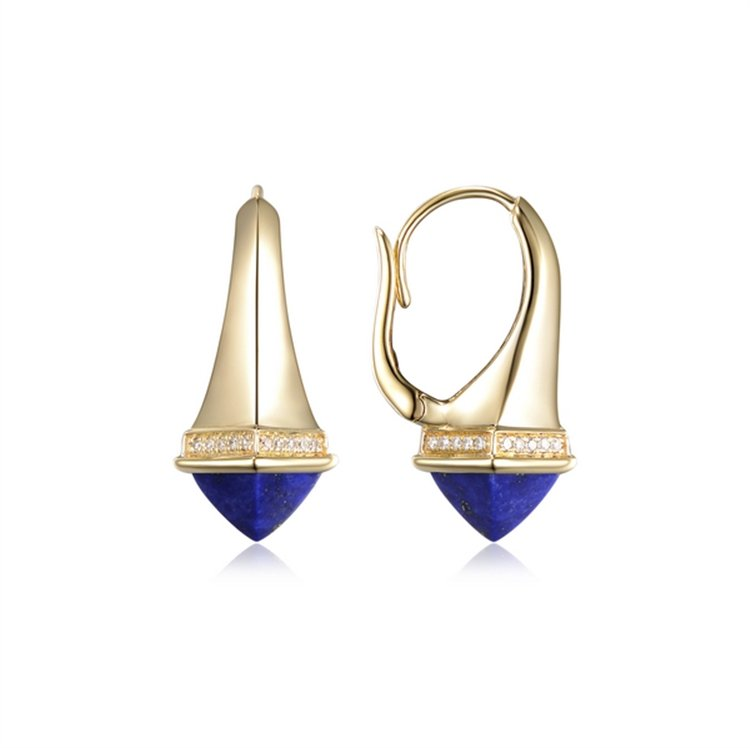 Diamond & Lapis Earrings