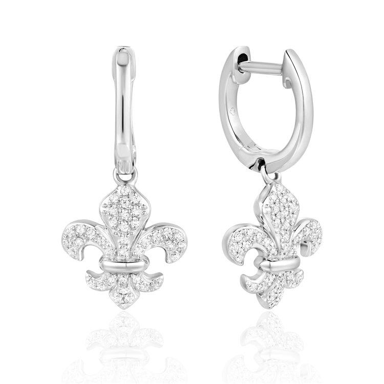 Diamond Fleur-de-lis Earrings