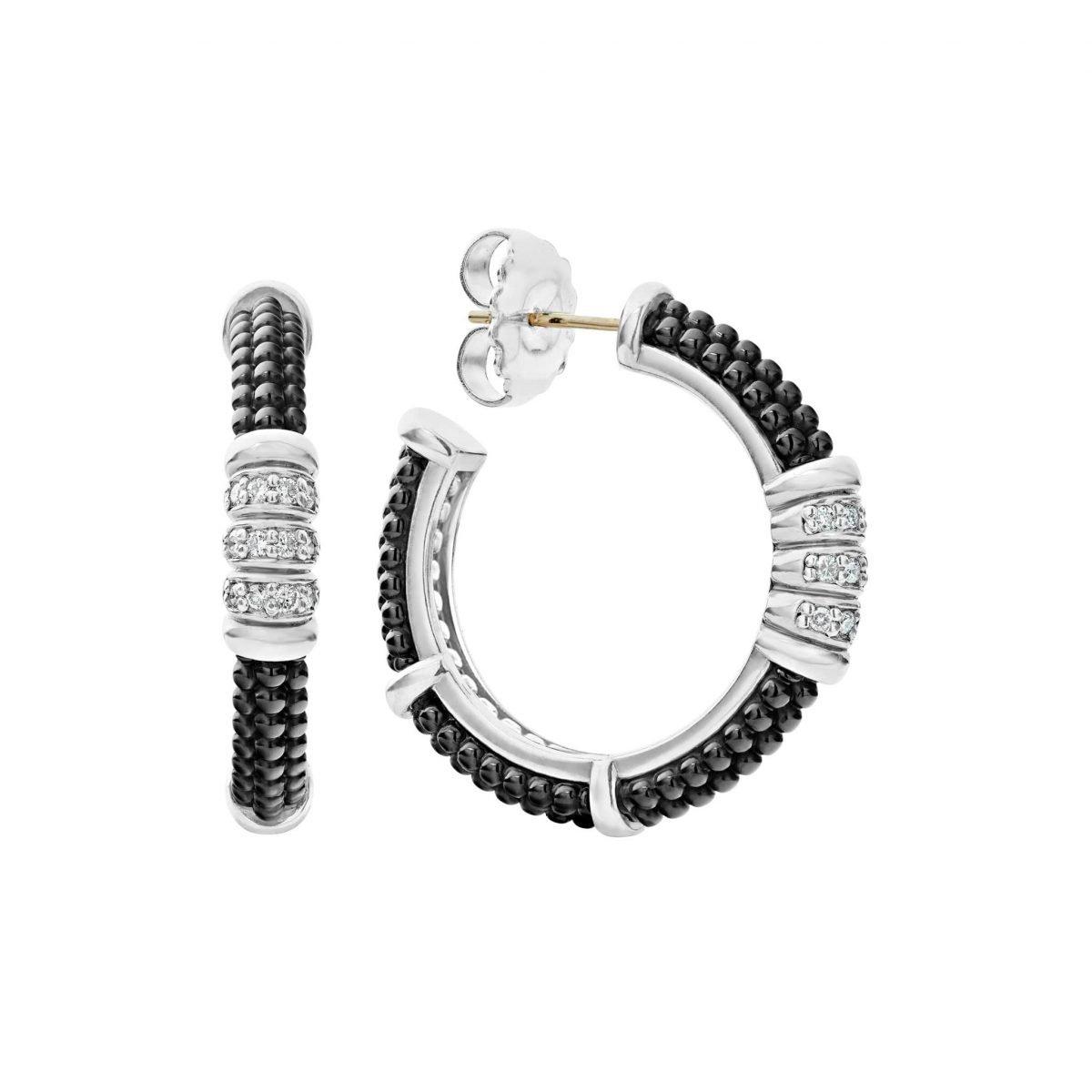 Black Caviar Diamond Hoop Earrings