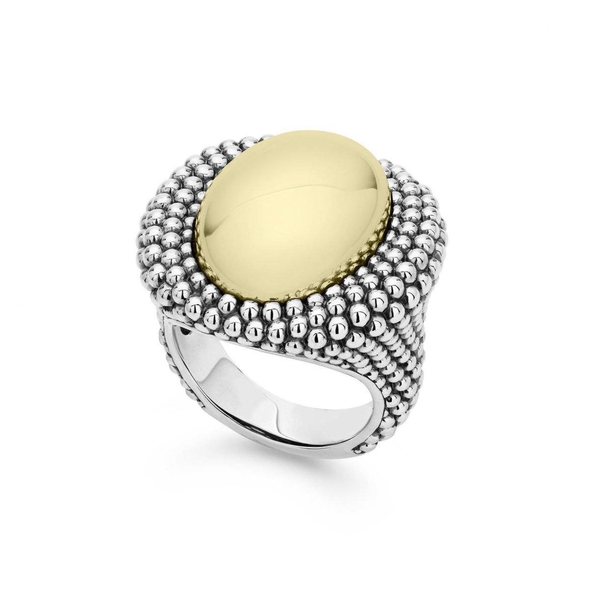 High Bar Gold Caviar Ring