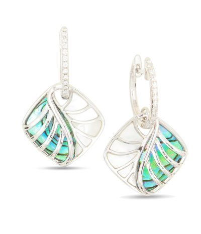 Abalone, White Mother of Pearl & Diamond Earrings