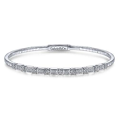 Baguette and Round Diamond Bangle