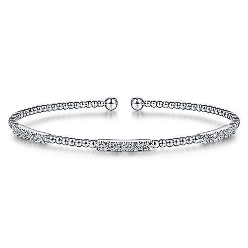 Cuff Bracelet with Diamond Pave Stations