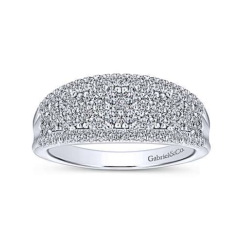 Curved Pave Diamond Ring