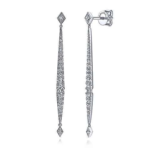 Long Diamond Bar Drop Earrings