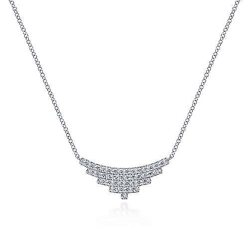 Multi Row Diamond Pendant Necklace