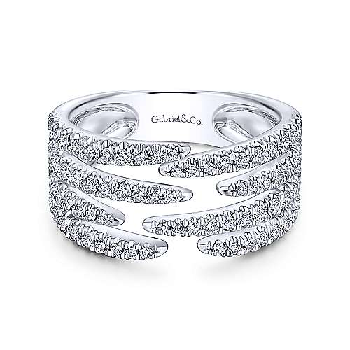 Open Wide Band Pave Diamond Ring