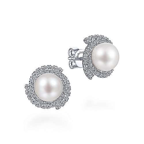 Cultured Pearl Swirling Diamond Halo Stud Earrings