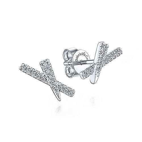 Tapered X Diamond Stud Earrings