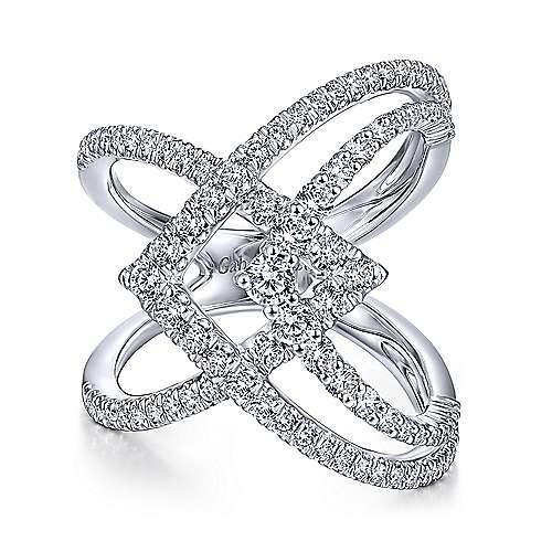 Wide Band Layered Diamond Ring