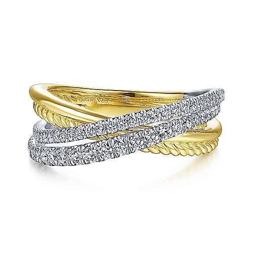 Twisted Rope & Diamond Criss Cross Ring