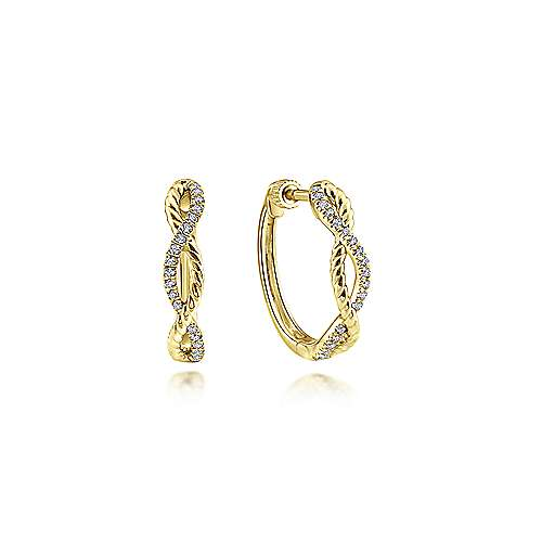 Twisted Rope and Diamond Huggie Earrings