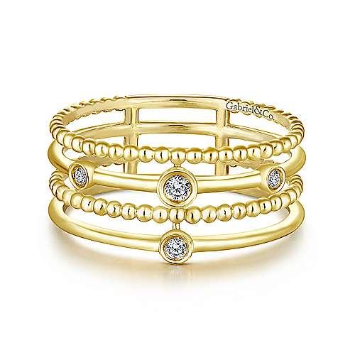 Bezel Set Diamond Station Layered Ring