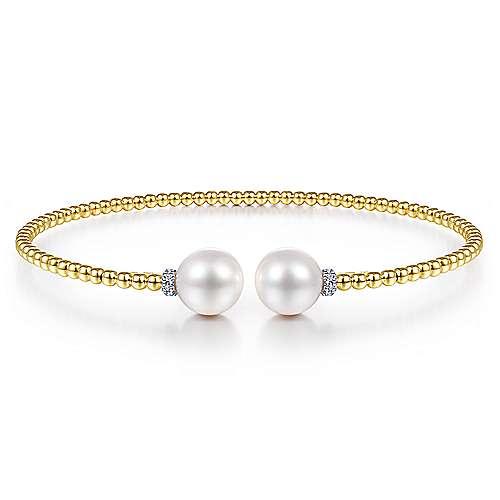 Pearl & Diamond Cuff Bracelet