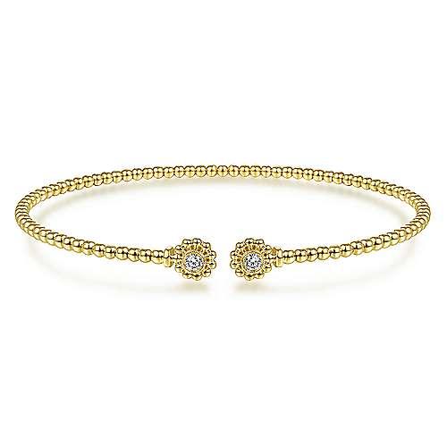Split Cuff Bracelet with Diamond Flower Caps