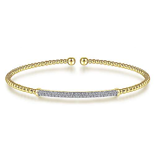 Cuff Bracelet with Diamond Pave Bar