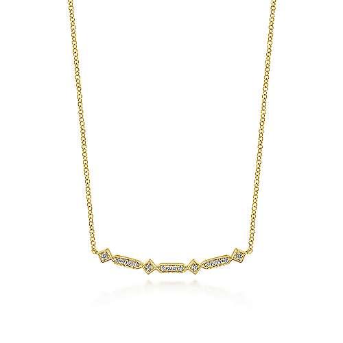 Curved Geometric Diamond Bar Necklace
