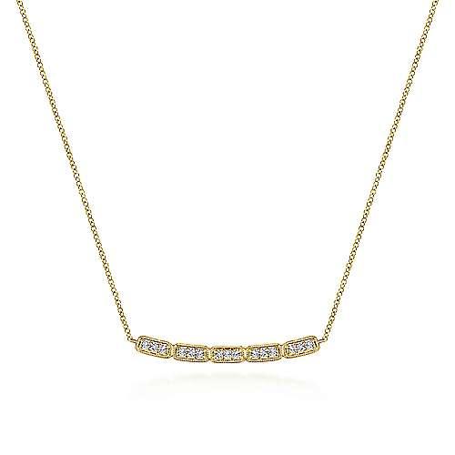 Rectangular Station Diamond Bar Necklace