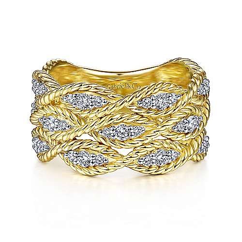 Twisted Braided Diamond Wide Band Ring