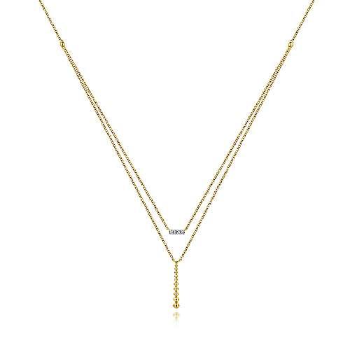 Two Strand Diamond Bar and Bujukan Beaded Pendant Necklace
