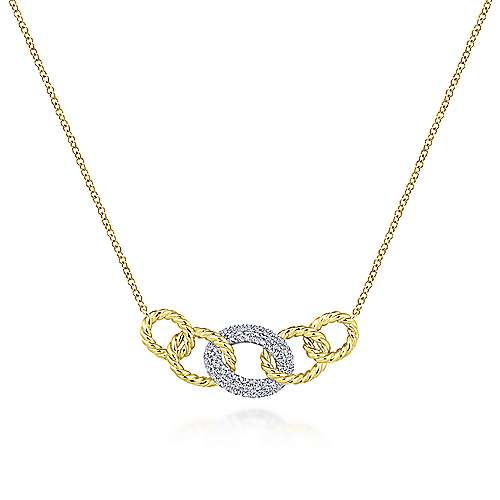 Twisted Rope & Diamond Link Necklace