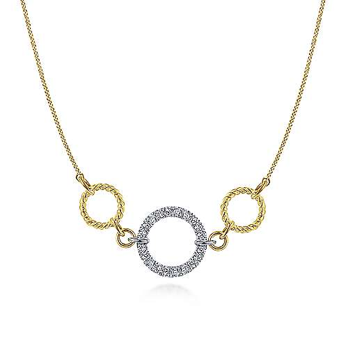 Twisted Rope and Pave Diamond Circle Necklace