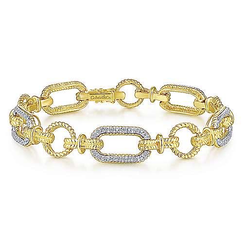 Diamond Bracelet with Alternating Links