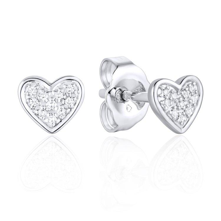 Luvente 14k White Gold Diamond Heart Stud Earrings