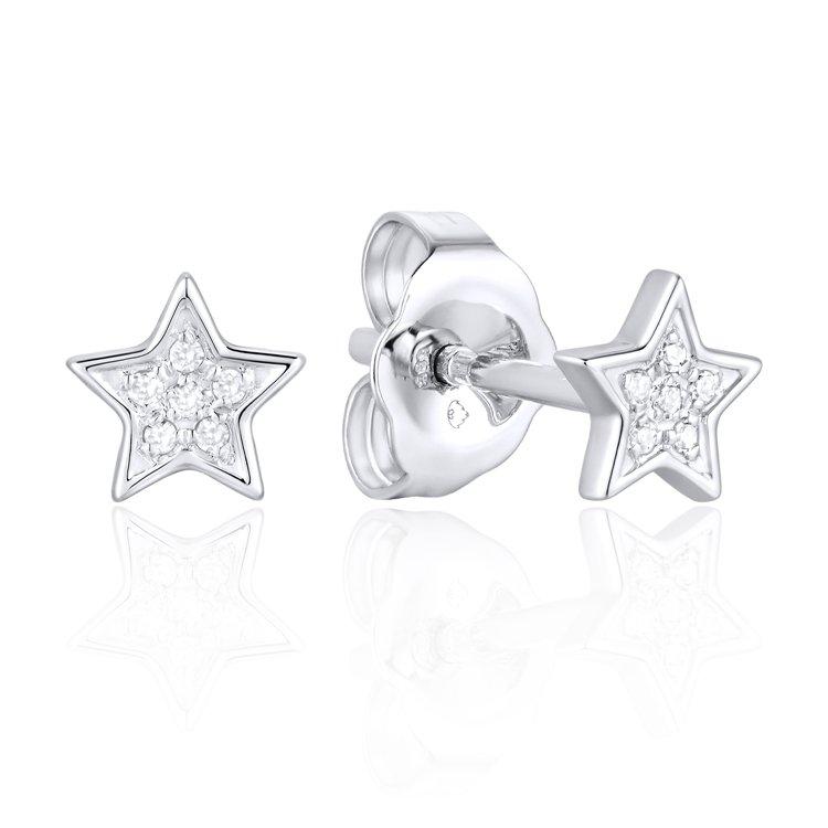 Luvente 14k White Gold Diamond Star Stud Earrings