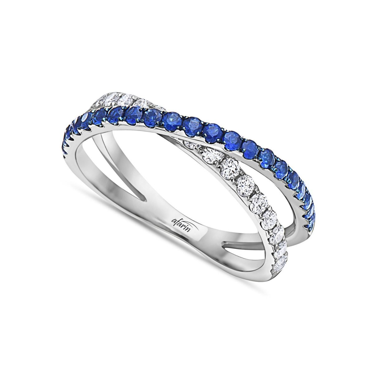 BLUE SAPPHIRE & DIAMOND CROSS OVER RING
