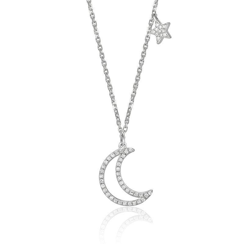 Diamond Moon & Star Necklace