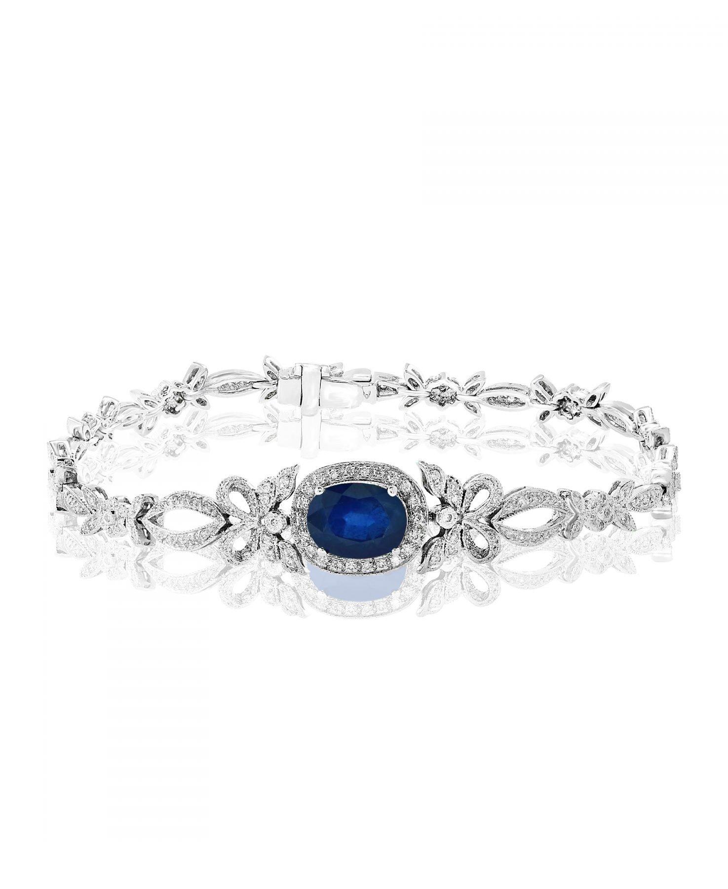Decorative Blue Sapphire & Diamond Bracelet