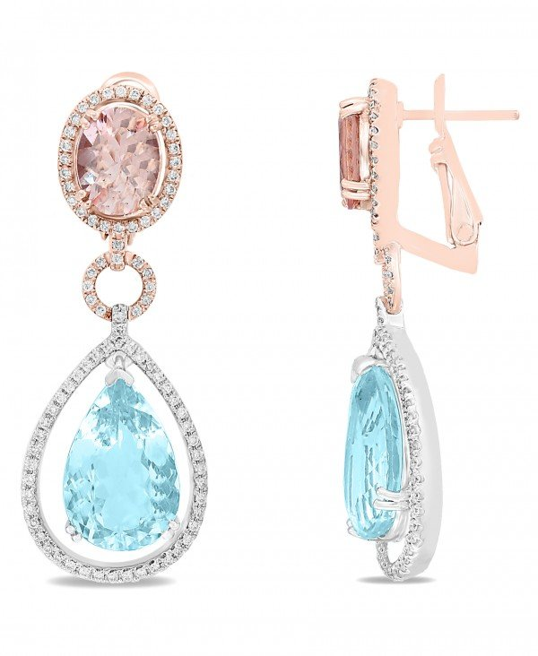 Rose gold Aquamarine & Morganite Diamond Drop Earrings